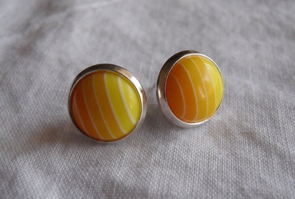 post earrings - kawaii acrylic and 12mm silver plated studs - gradient yellow stripe cabochons - nickel-free brass and stainless steel