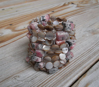 memory wire wrap bracelet - rhodochrosite nuggets and beige mother of pearl - plus size jewelry - one size fits all