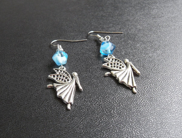 beaded dangle earrings - silver fairy lead free charm with blue glass accents