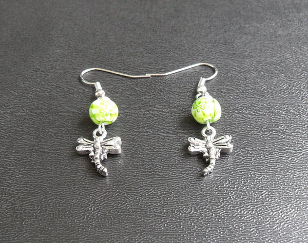 beaded dangle earrings - silver dragonfly American-made lead free pewter charm with green millefiori bead accent