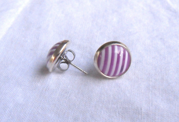 post earrings - kawaii acrylic and 12mm silver plated studs - violet and white stripe cabochons - nickel-free brass and stainless steel