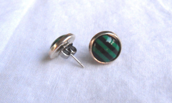 post earrings - kawaii acrylic and 12mm silver plated studs - black and green stripe cabochons - nickel-free brass and stainless steel