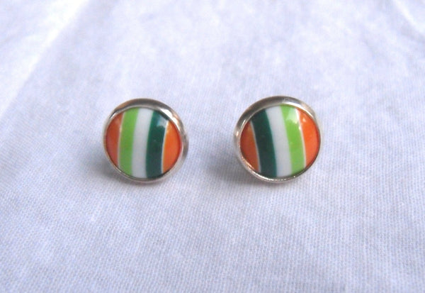 post earrings - kawaii acrylic and 12mm silver studs - green and orange stripe cabs - nickel-free brass and stainless steel - school colors