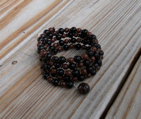 memory wire wrap bracelet - mahogany and black obsidian beads with bronze Czech glass bead caps