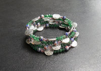 memory wire wrap bracelet - blue cloisonne flowers with emerald green aventurine and lavender glass - one size fits all