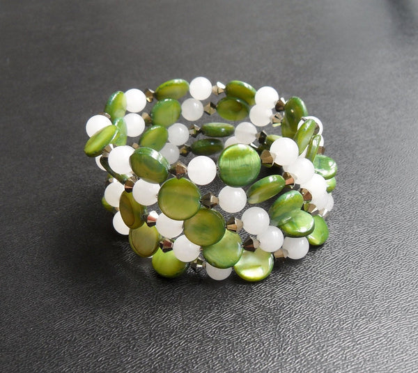 memory wire wrap bracelet - lime green mother of pearl with snow quartz and Czech crystal - one size fits all - thick cuff