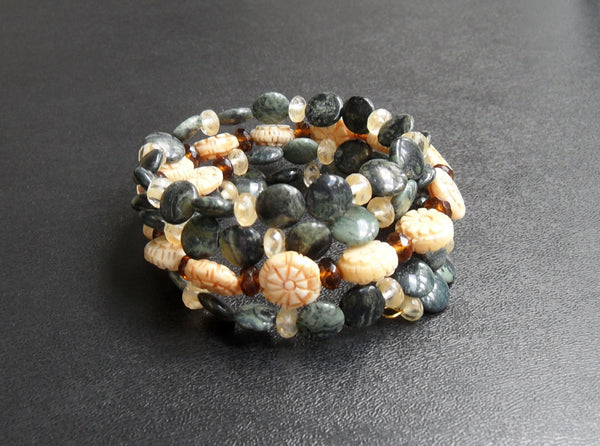 memory wire wrap bracelet - kambaba or crocodile jasper gemstone with Czech glass and bone beads