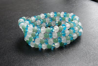 memory wire bracelet - snow quartz with green aventurine and blue crystal - one size fits all