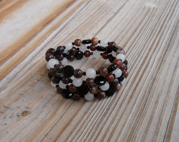 memory wire wrap bracelet - white snow quartz with red brecciated jasper and black onyx rounds and Czech firepolished glass faceted coins