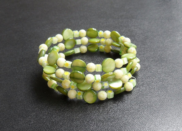 memory wire wrap bracelet - lime green mother of pearl with chartreuse serpentine and millefiori glass - one size fits all - thick cuff