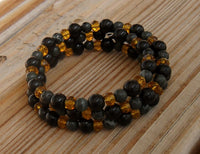 memory wire wrap bracelet - kambaba or crocodile jasper gemstone with obsidian glass and amber Chinese crystal