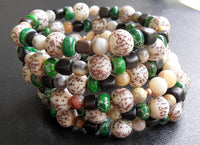 memory wire wrap bracelet - salwag seed with kamagong iron wood and green sea sediment jasper - plus size jewelry - one size fits all