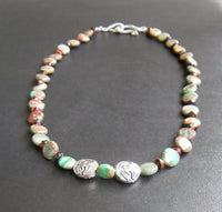 beaded necklace - green and brown banded jasper with silver pewter dragons and snake clasp - 20 in. (51 cm) - plus size jewelry
