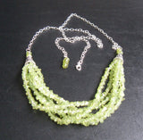 peridot gemstone chip bib rope necklace with adjustable sterling silver filled chain - fits up to 26 inches - August birthstone