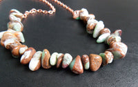 bib necklace - matrix chrysoprase and raw red copper - 29 in (74 mm) - plus size jewelry