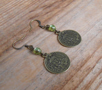 bohemian brass coin earrings