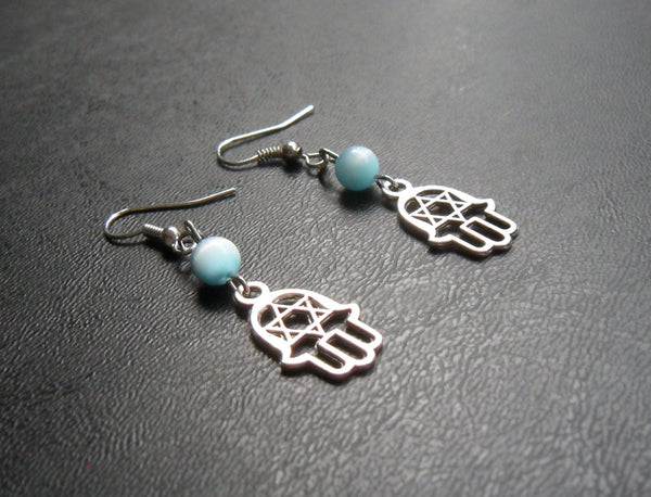 beaded dangle earrings - silver hamsa Star of David lead free charm with blue fiberoptic cats eye accents