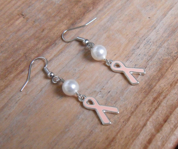breast cancer awareness ribbon earrings