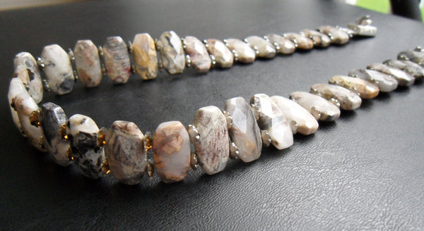 beaded choker - crazy lace agate with silver pewter spacers and silver-filled box clasp - tans grey and brown stone - plus-size jewelry