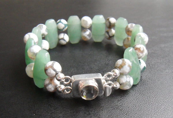 beaded bracelet - Tibetian-style agate with double strand green aventurine & silver-filled box clasp - about 9.2 in (23cm) plus-size jewelry