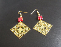 brass filigree and millefiori glass earrings