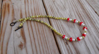 beaded necklace - yellow turquoise with lampwork glass red mushrooms - 28 in. (71 cm) - plus size jewelry