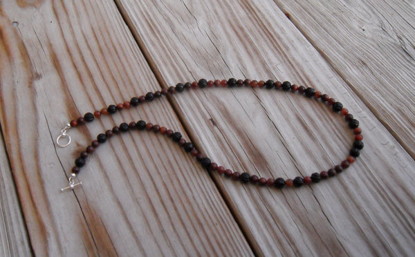 beaded necklace - red tiger eye and carved rose black agate - 20 in. (51 cm) - plus size jewelry