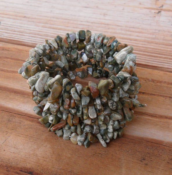 memory wire wrap bracelet - rhyolite rainforest jasper gemstone chip bohemian cuff - one size fits all - plus size boho jewelry