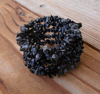 memory wire wrap bracelet - snowflake obsidian chip bohemian cuff - one size fits all - plus size boho jewelry
