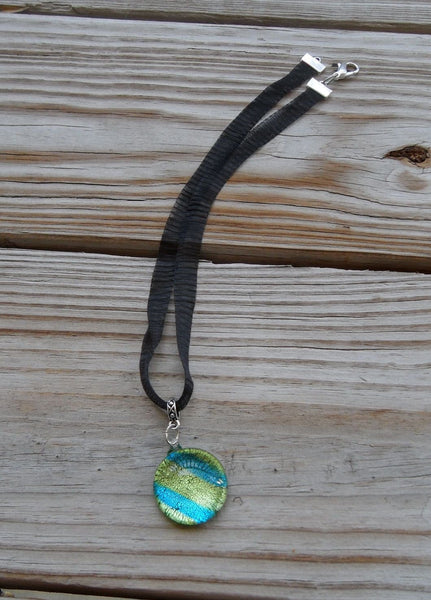 mesh ribbon choker necklace - teal blue green dichroic glass pendant - 0.5 x 16.5 inches with 2.5 inch extender