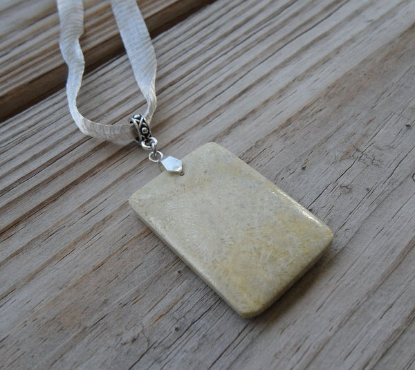 mesh ribbon choker necklace with tan fossil coral rectangle pendant - 0.5 x 16.5 inches with 2.5 inch extender