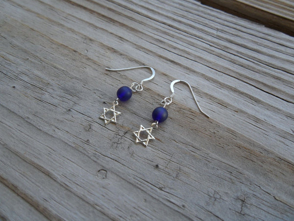 beaded dangle earrings - sterling silver Star of David with frosted blue glass accents