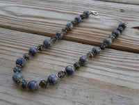 "beaded necklace - blue sodalite and dragon vein agate - 16.5 in. (42 cm) with 2"" extender - plus size statement jewelry"
