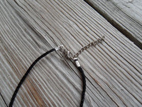 vegan charm necklace - upside down bat silver alloy charm on faux leather cord - 17 inch with 2 inch extender - lead and nickel free