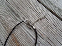 vegan charm necklace - zombie silver pewter charm on faux leather cord - 17 inch with 2 inch extender - lead and nickel free