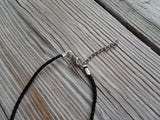 vegan charm necklace - I love freckles silver pewter charm on faux leather cord - 17 inch with 2 inch extender - lead and nickel free