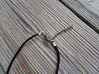 vegan charm necklace - choose your weapon silver pewter charm on faux leather cord - 17 inch with 2 inch extender - lead and nickel free