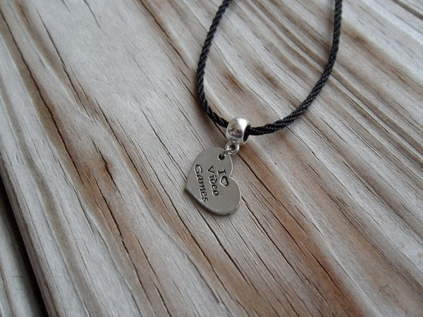 vegan charm necklace - I love video games silver pewter charm on faux leather cord - 17 inch with 2 inch extender - lead and nickel free