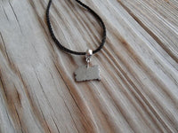 vegan charm necklace - zombie hunter silver pewter charm on faux leather cord - 17 inch with 2 inch extender - lead and nickel free
