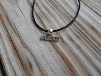 vegan charm necklace - I love monsters silver pewter charm on faux leather cord - 17 inch with 2 inch extender - lead and nickel free