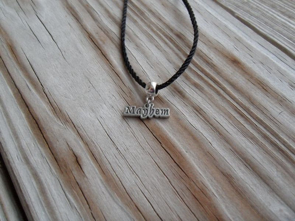 vegan charm necklace - mayhem silver pewter charm on faux leather cord - 17 inch with 2 inch extender - lead and nickel free