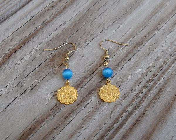 gold brass fleur de lis earrings