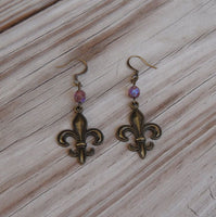 brass fleur de lis earrings