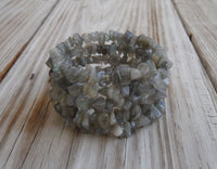 memory wire wrap bracelet - labradorite chip beaded wrap - one size fits all - bridesmaid jewelry