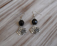 beaded dangle earrings - silver spider lead free charm with Czech glass bead accents