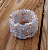 memory wire wrap bracelet - blue lace agate and peach freshwater pearl beaded wrap - one size fits all - bridesmaid jewelry