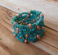 memory wire wrap bracelet - Russian amazonite and copper - one size fits all - plus size boho jewelry