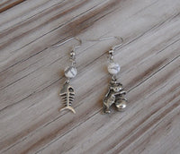 beaded dangle earrings - silver cat and fishbowl - asymmetrical humorous jewelry for animal lovers