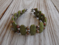 "beaded bracelet - leopardskin jasper with double strand green epidote - 8.5in (21.6cm) with 2"" extender - nickel-free clasp and findings"