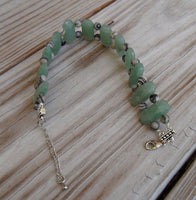 beaded bracelet - black line jasper with double strand green aventurine